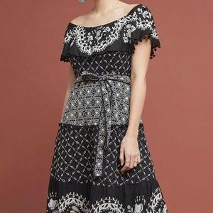 Anthropologie Off the Shoulder Black Dress New 8